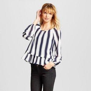 NEW White/Blue Striped Blouse w/Flounce Hem [D1]